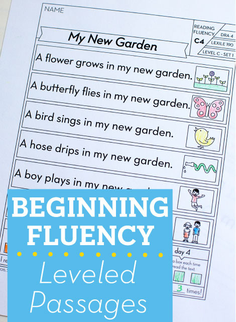 Free Printable Kindergarten Fluency Passages Beginning Fluency Leveled Passages