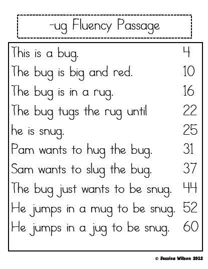 Free Printable Kindergarten Fluency Passages Little Learning Stars Word Family Fluency Passages