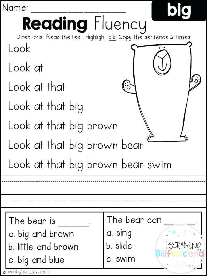 Free Printable Kindergarten Fluency Passages Reading Passage for Kindergarten Worksheets Kindergarten
