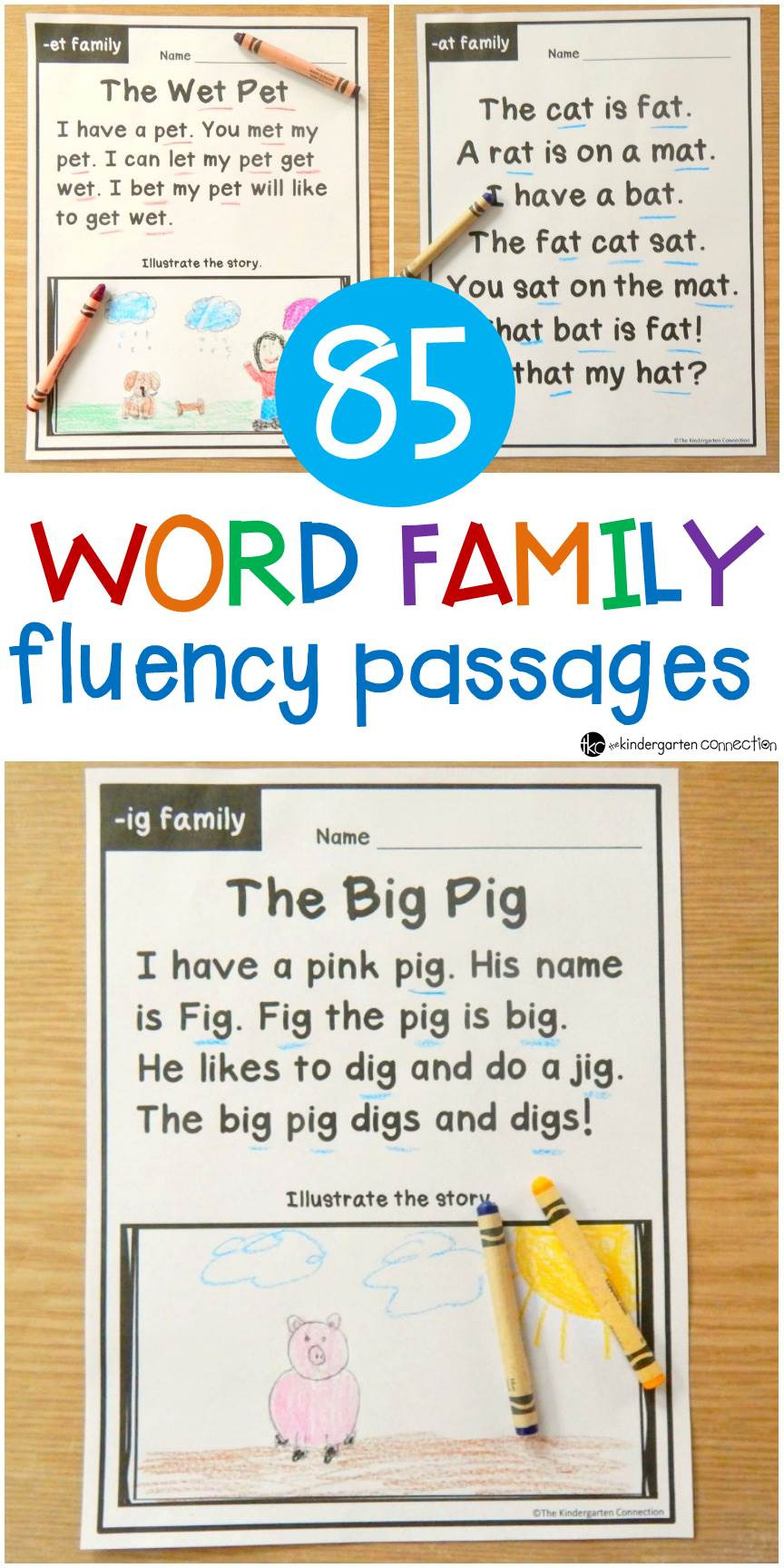 Free Printable Kindergarten Fluency Passages Word Family Fluency Passages for Early Readers In Kindergarten