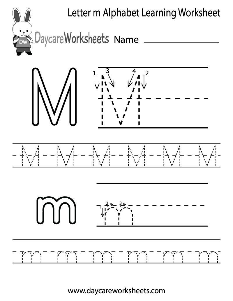 Free Printable Letter M Worksheets Draft Free Letter M Alphabet Learning Worksheet for