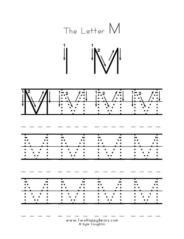 Free Printable Letter M Worksheets Practice Worksheet for Writing the Letter M Upper Case