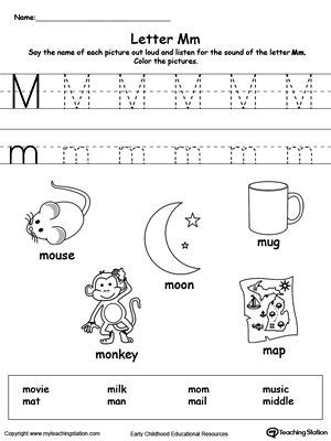 Free Printable Letter M Worksheets Words Starting with Letter M