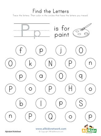 Free Printable Letter P Worksheets Find the Letter P Worksheet