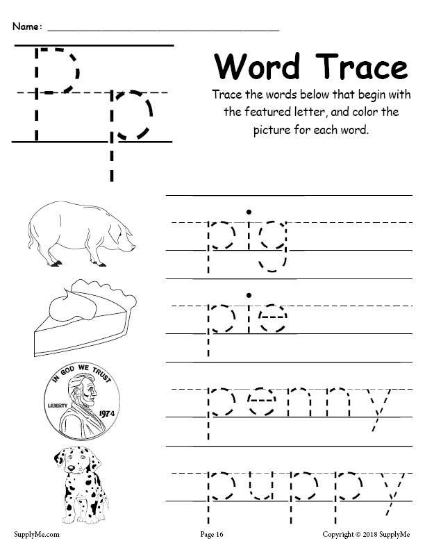 Free Printable Letter P Worksheets Letter P Words Alphabet Tracing Worksheet