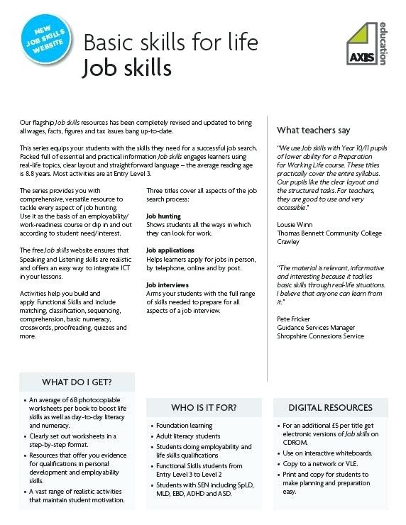 Free Printable Life Skills Worksheets Free Life Skills Worksheets Job Skill Worksheets Free Life