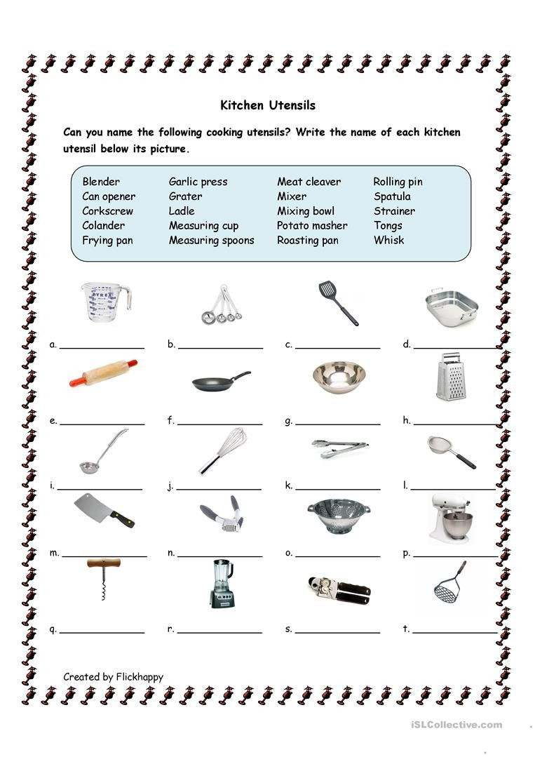 Free Printable Life Skills Worksheets Kitchen Utensils