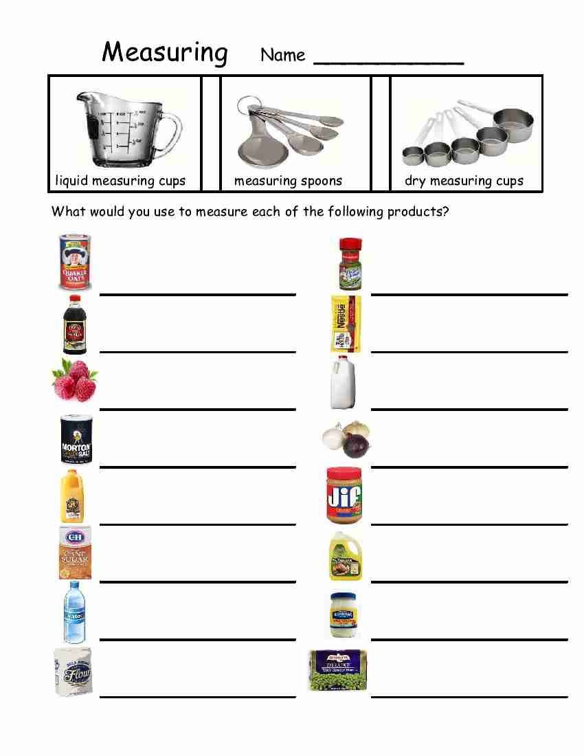 Free Printable Life Skills Worksheets Measuring Devices