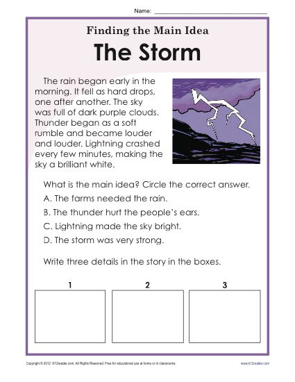 Free Printable Main Idea Worksheets 1st 2nd Grade Main Idea Worksheet About Storms and