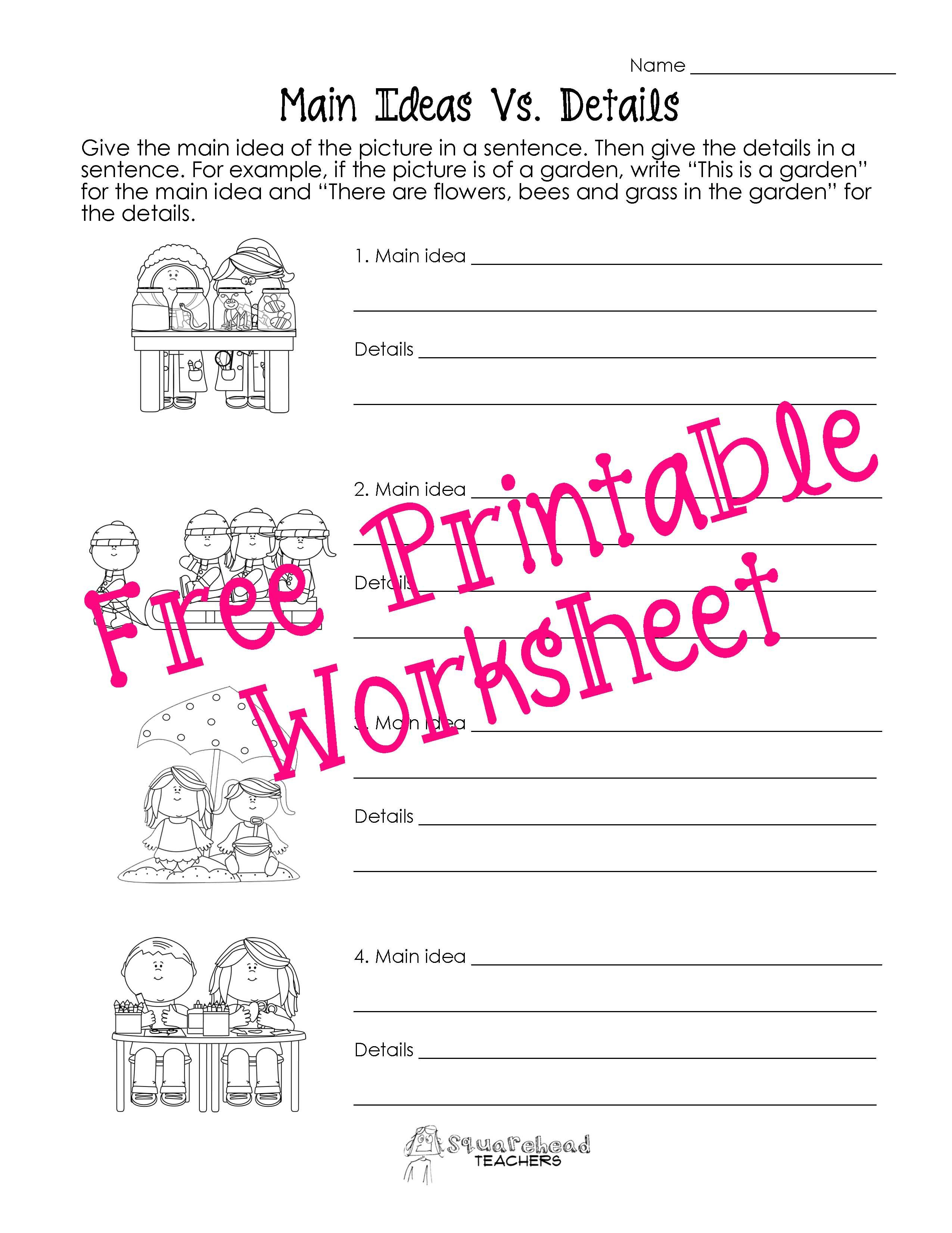 Free Printable Main Idea Worksheets Main Idea Worksheets 3rd Grade