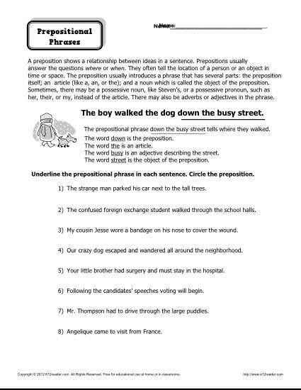 Free Printable Preposition Worksheets Preposition Worksheet Prepositional Phrases