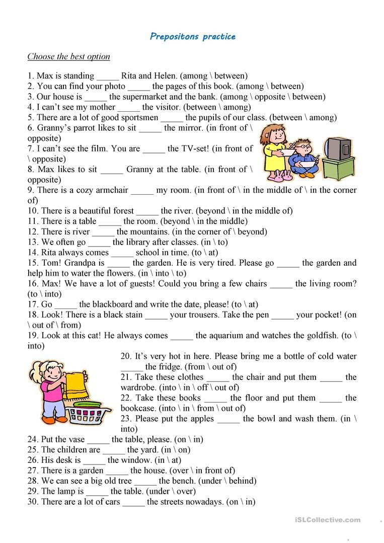Free Printable Preposition Worksheets Prepositions Practice