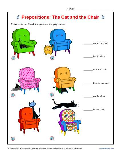 Free Printable Preposition Worksheets Prepositions the Cat and the Chair