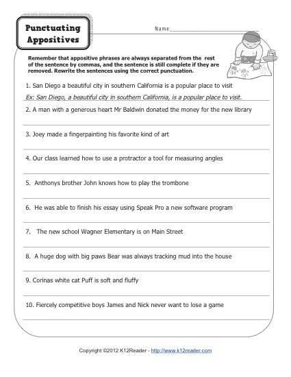 Free Printable Punctuation Worksheets Punctuating Appositives