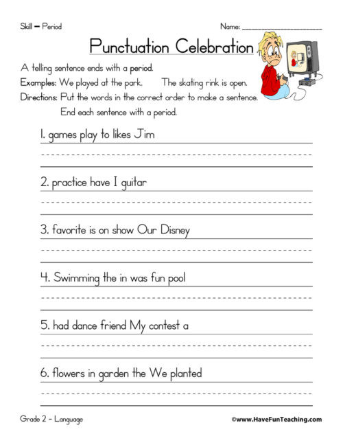 Free Printable Punctuation Worksheets Punctuation Worksheets • Have Fun Teaching