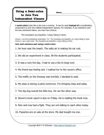 Free Printable Punctuation Worksheets Semi Colons and Independent Clauses
