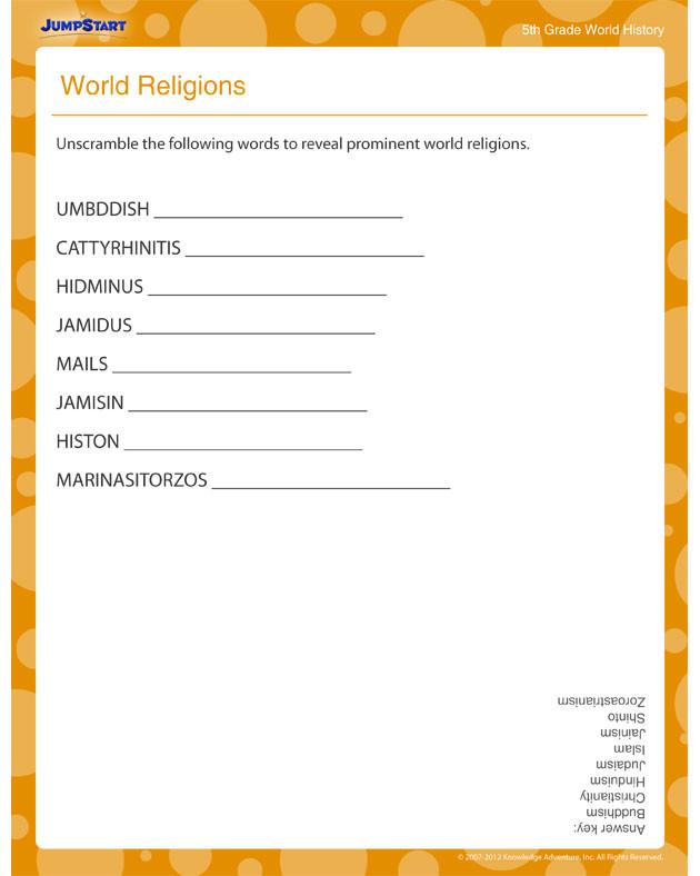 Free Printable Religious Worksheets World Religions View Free History Printable Worksheets for