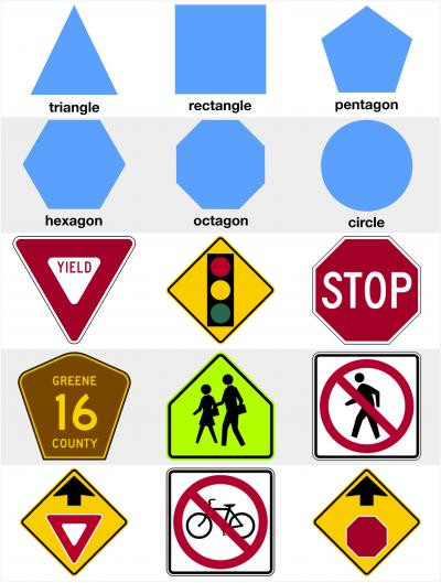 Free Printable Safety Signs Worksheets Recognize Basic Shapes On Road Traffic Signs