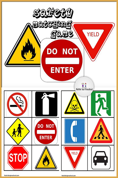Free Printable Safety Signs Worksheets Safety Sign Matching File Folder Game