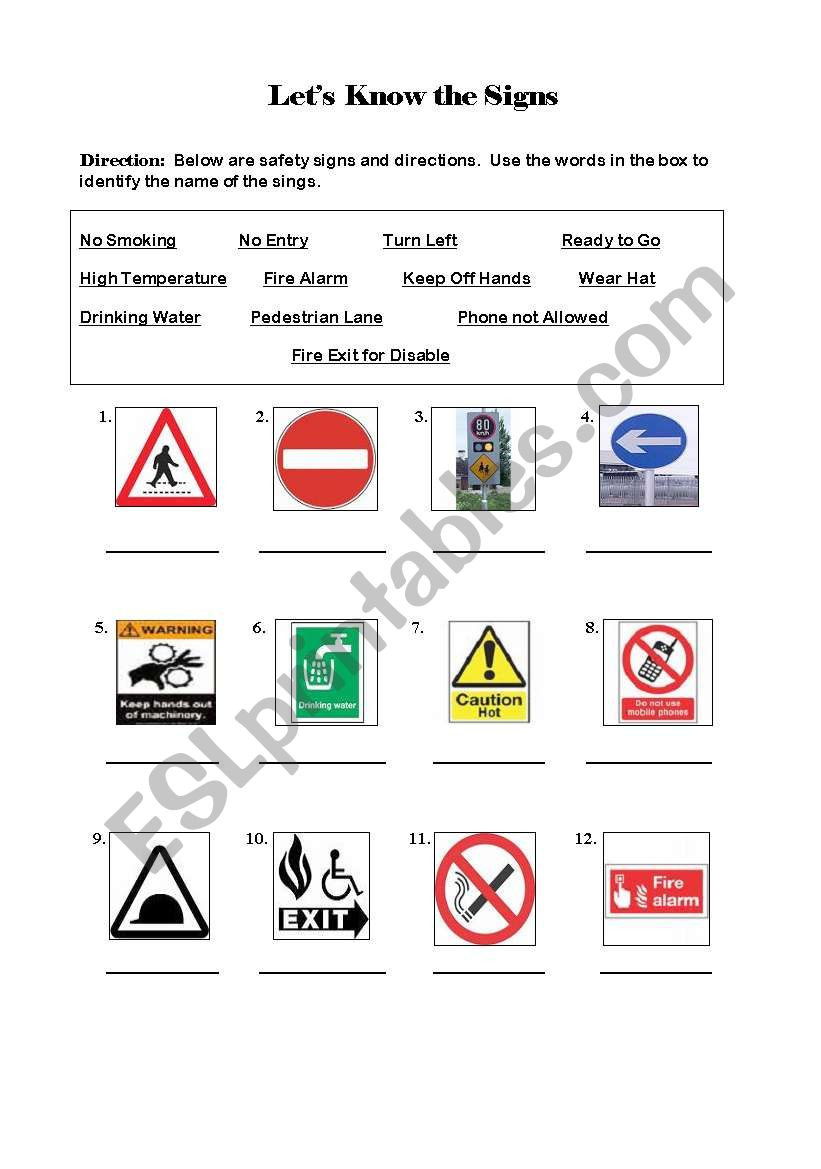Free Printable Safety Signs Worksheets Safety Signs Esl Worksheet by Npberiones