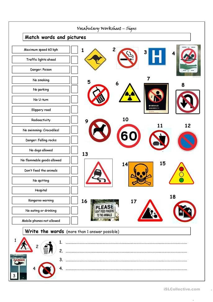 Free Printable Safety Signs Worksheets Vocabulary Matching Worksheet Signs
