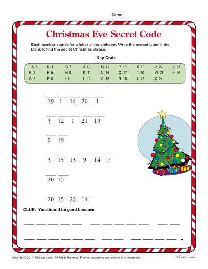 Free Printable Secret Code Worksheets Christmas Eve Secret Code