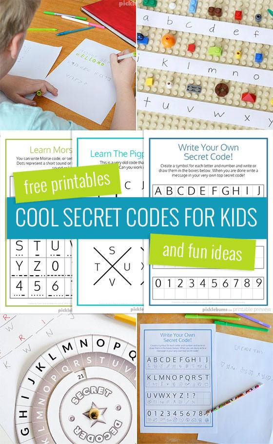 Free Printable Secret Code Worksheets Cool Secret Codes for Kids Free Printables Picklebums