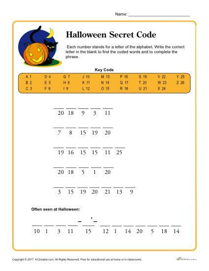 Free Printable Secret Code Worksheets Halloween Secret Code Printable Activity