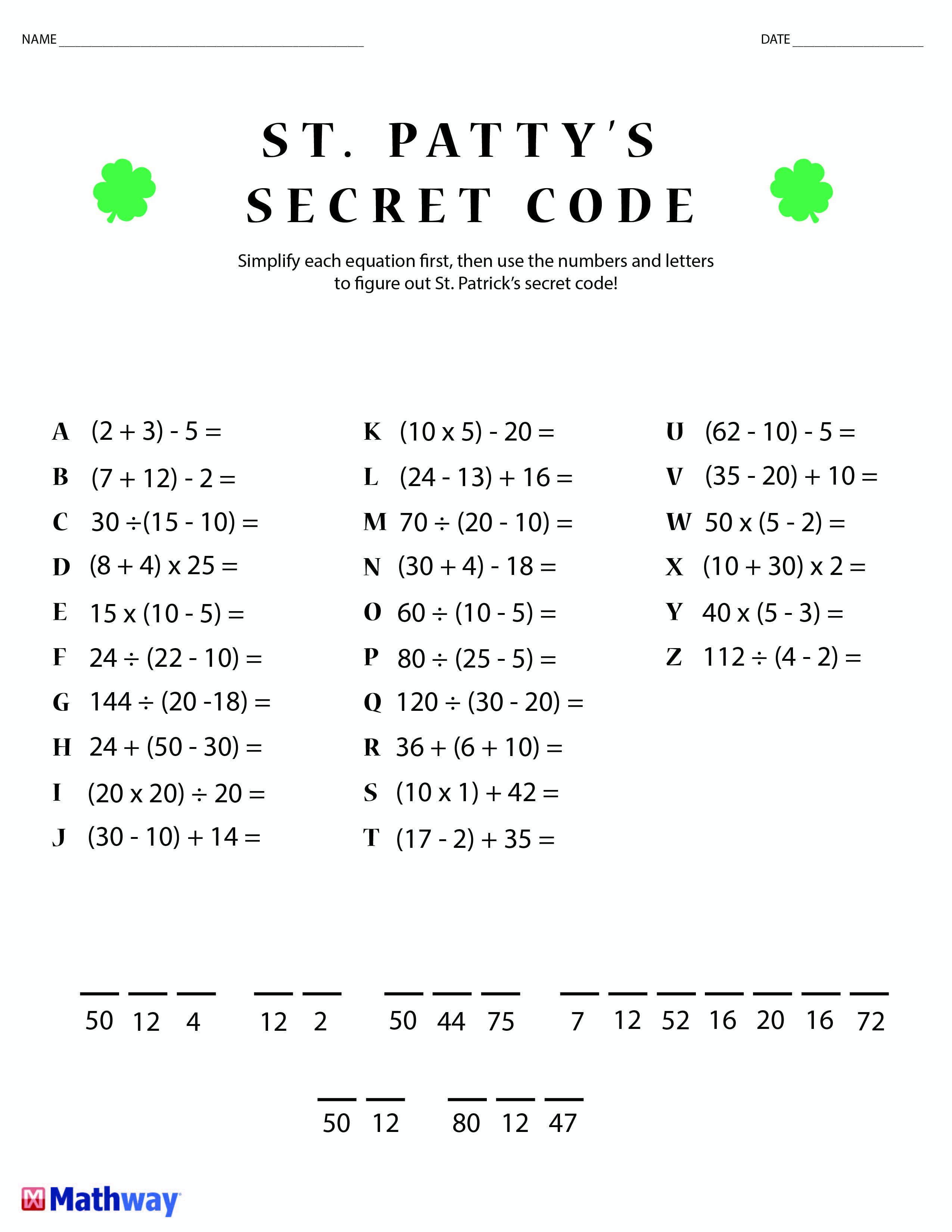 Free Printable Secret Code Worksheets Pin On Math Worksheets