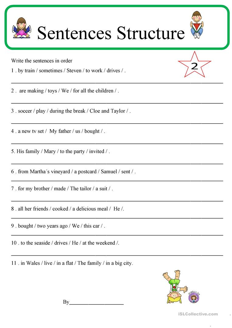 Free Printable Sentence Structure Worksheets English Esl Sentence Structure Worksheets Most Ed