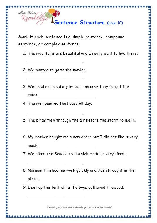Free Printable Sentence Structure Worksheets Grade 3 Grammar topic 36 Sentence Structure Worksheets