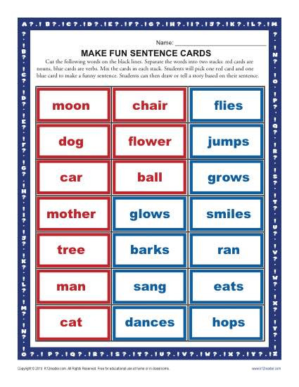 Free Printable Sentence Structure Worksheets Make A Fun Sentence