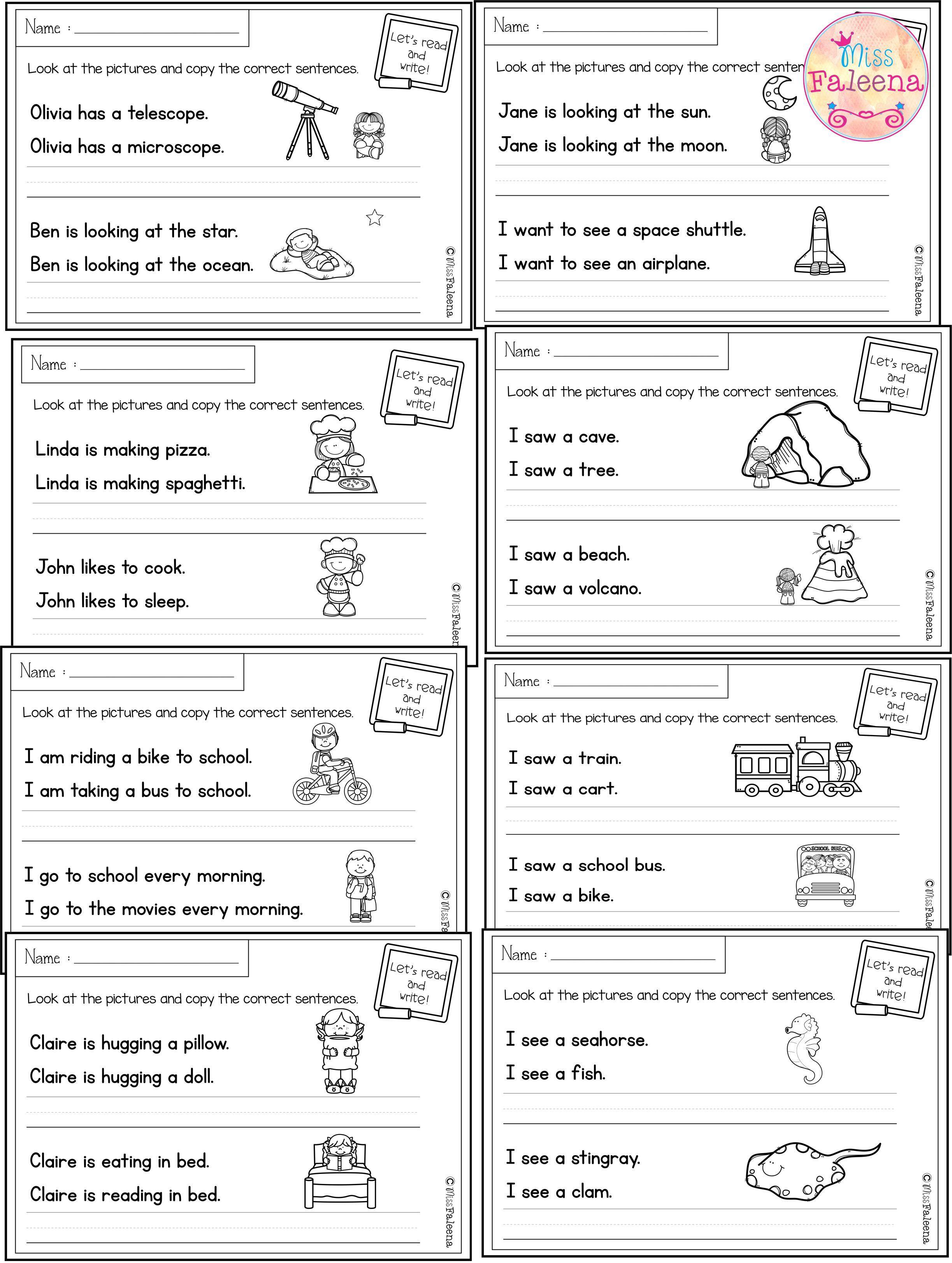Free Printable Sentence Writing Worksheets August Sentence Writing