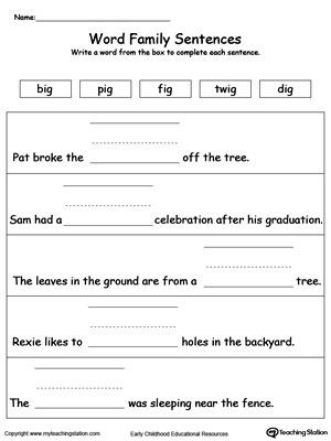 Free Printable Sentence Writing Worksheets Build A Sentence Ag Word Family