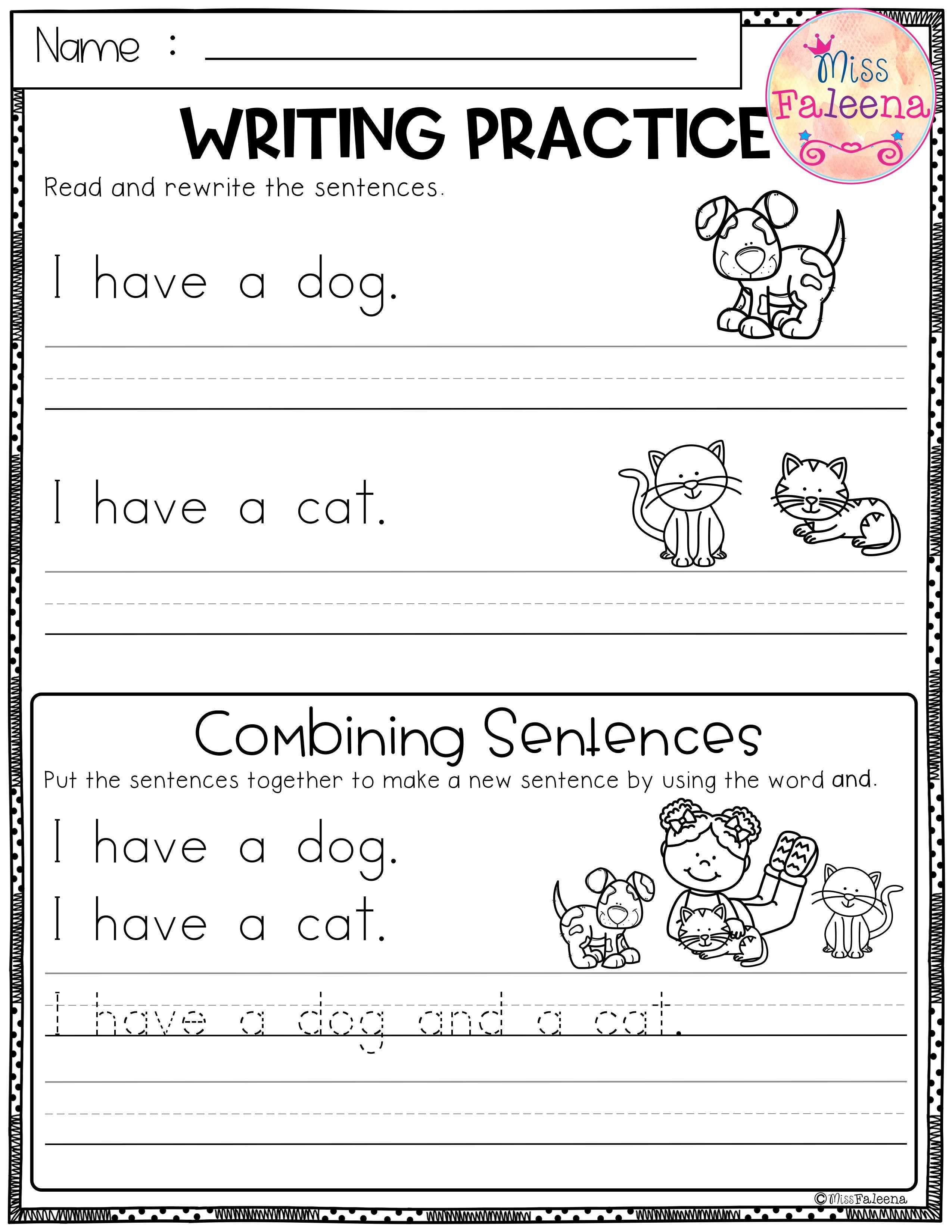 Free Printable Sentence Writing Worksheets Free Writing Practice Bining Sentences