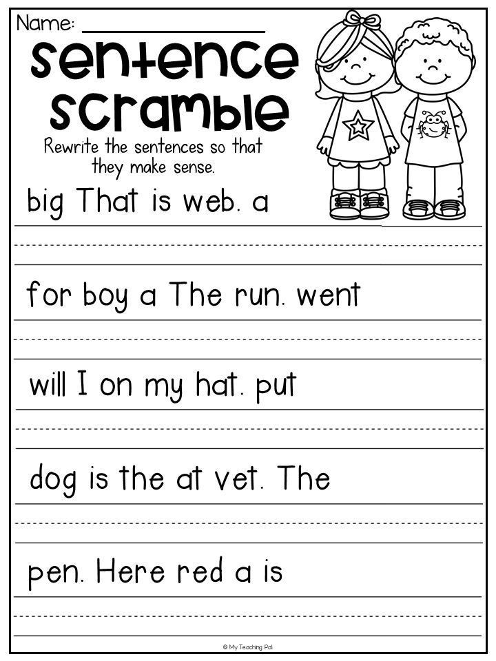 Free Printable Sentence Writing Worksheets Sentence Scramble Worksheets Kindergarten Literacy Centers