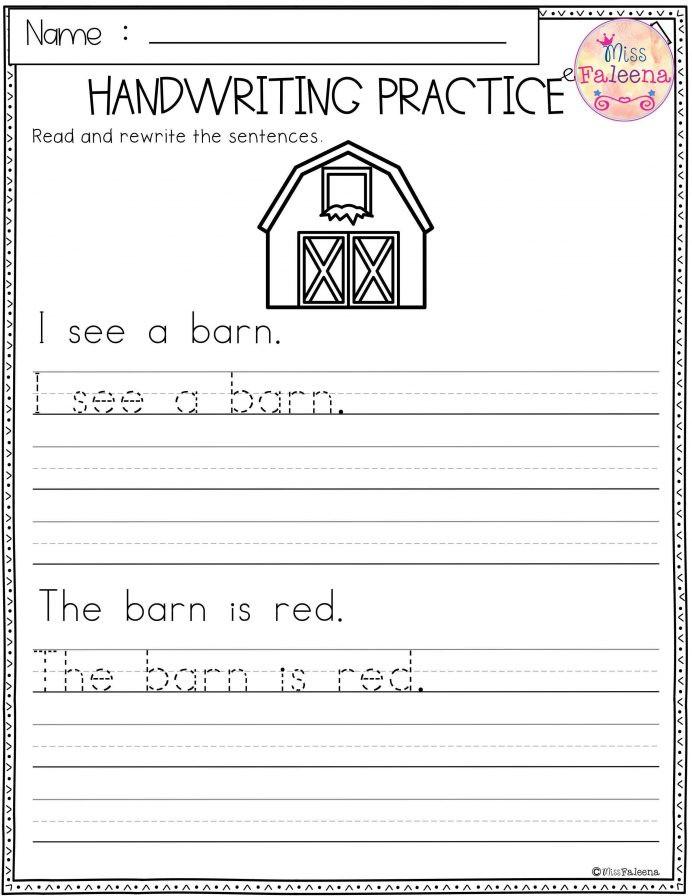 Free Printable Sentence Writing Worksheets Worksheet Kindergarten Sheets Handwriting Printable