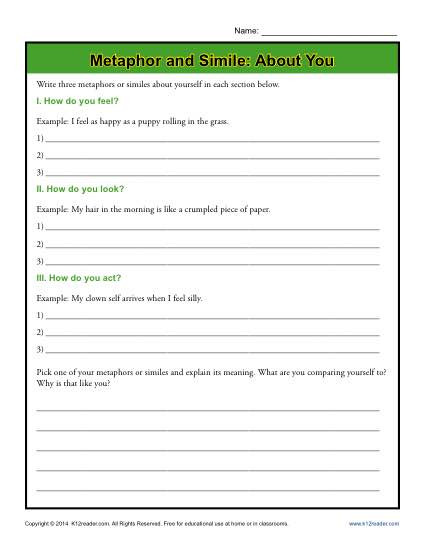 Free Printable Simile Worksheets Metaphor and Simile About You