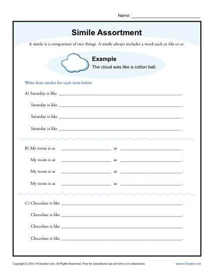 Free Printable Simile Worksheets Simile assortment