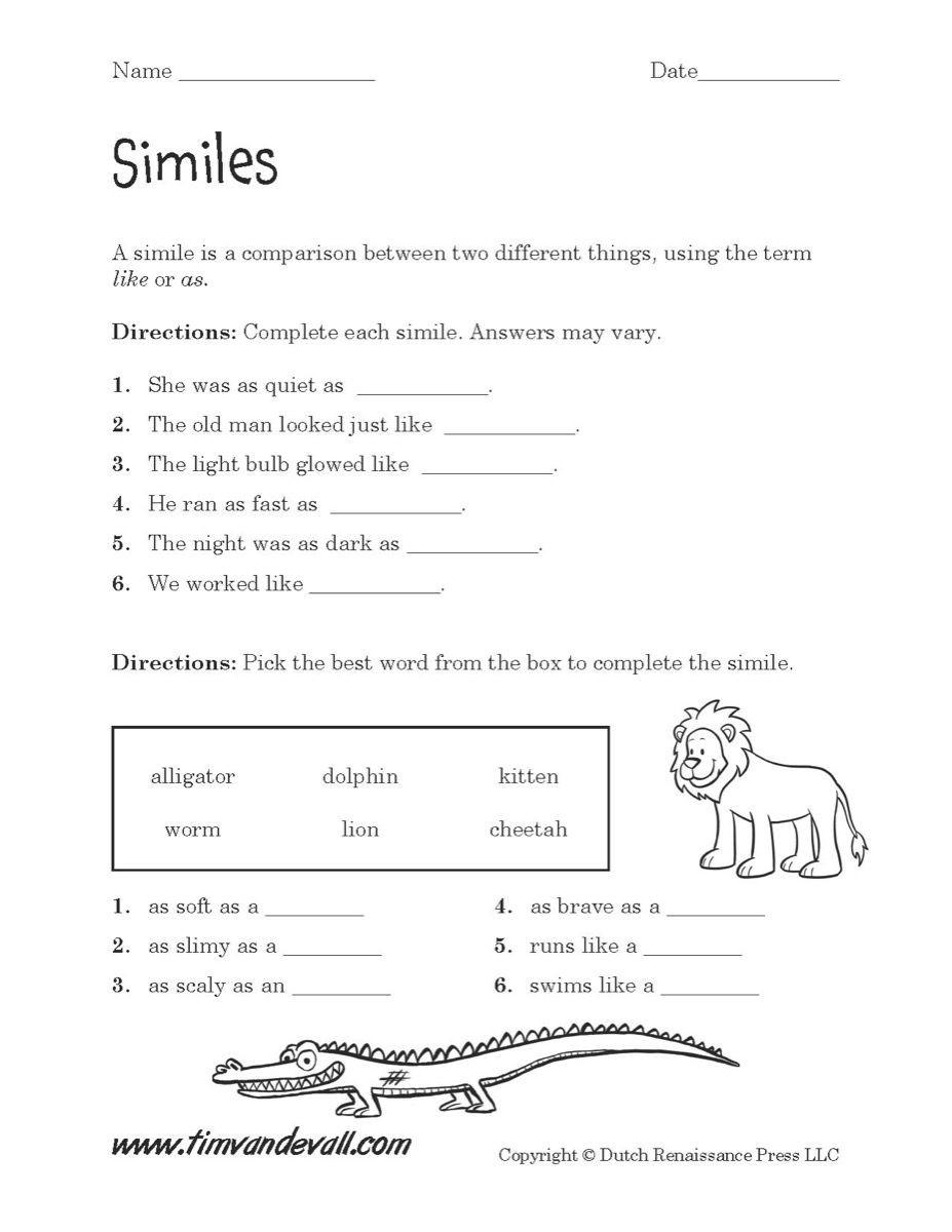 Free Printable Simile Worksheets Simile Worksheet Printable 927—1 200 Pixels