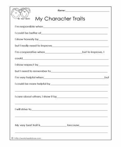 Free Printable social Skills Worksheets My Character Traits social Skills Worksheets