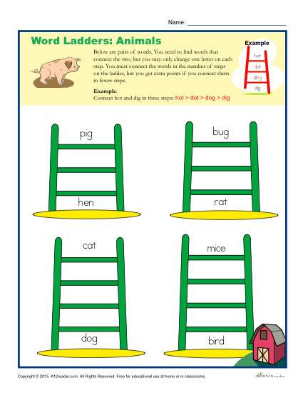 Free Printable Word Ladders Animals Word Ladders Worksheet for 2nd 3rd and 4th Grade