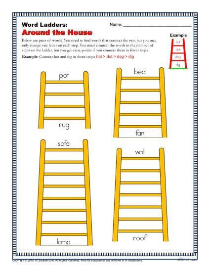Free Printable Word Ladders Around the House Word Ladders