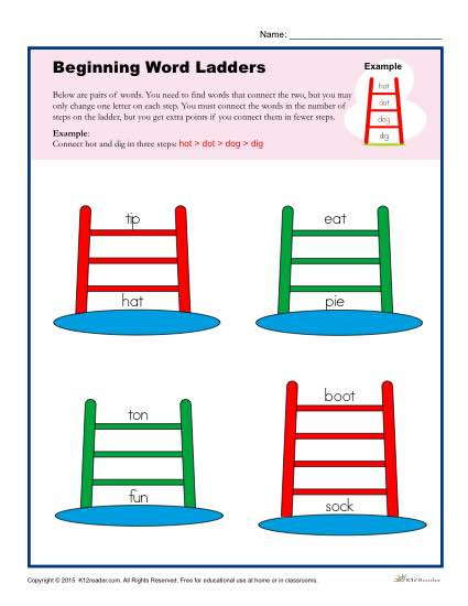 Free Printable Word Ladders Beginning Word Ladders Worksheet for 2nd 3rd and 4th Grade