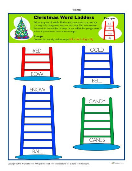Free Printable Word Ladders Christmas Worksheet Activity