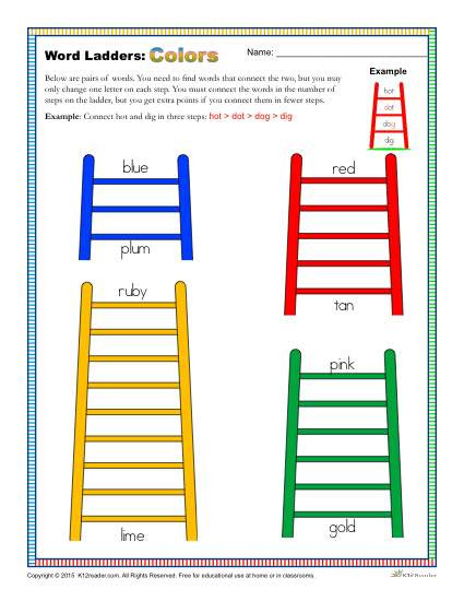 Free Printable Word Ladders Colors Word Ladders Worksheet for 2nd 3rd and 4th Grade