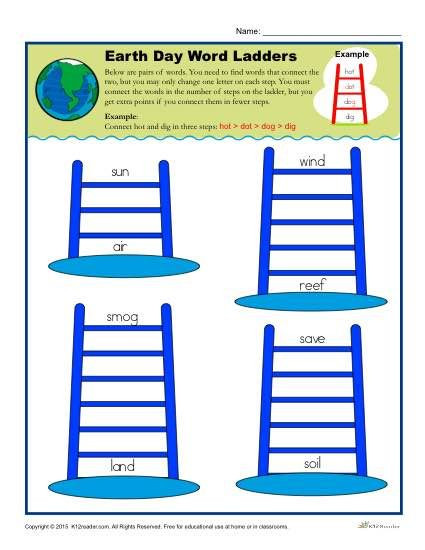 Free Printable Word Ladders Earth Day Word Ladders Worksheet Activity