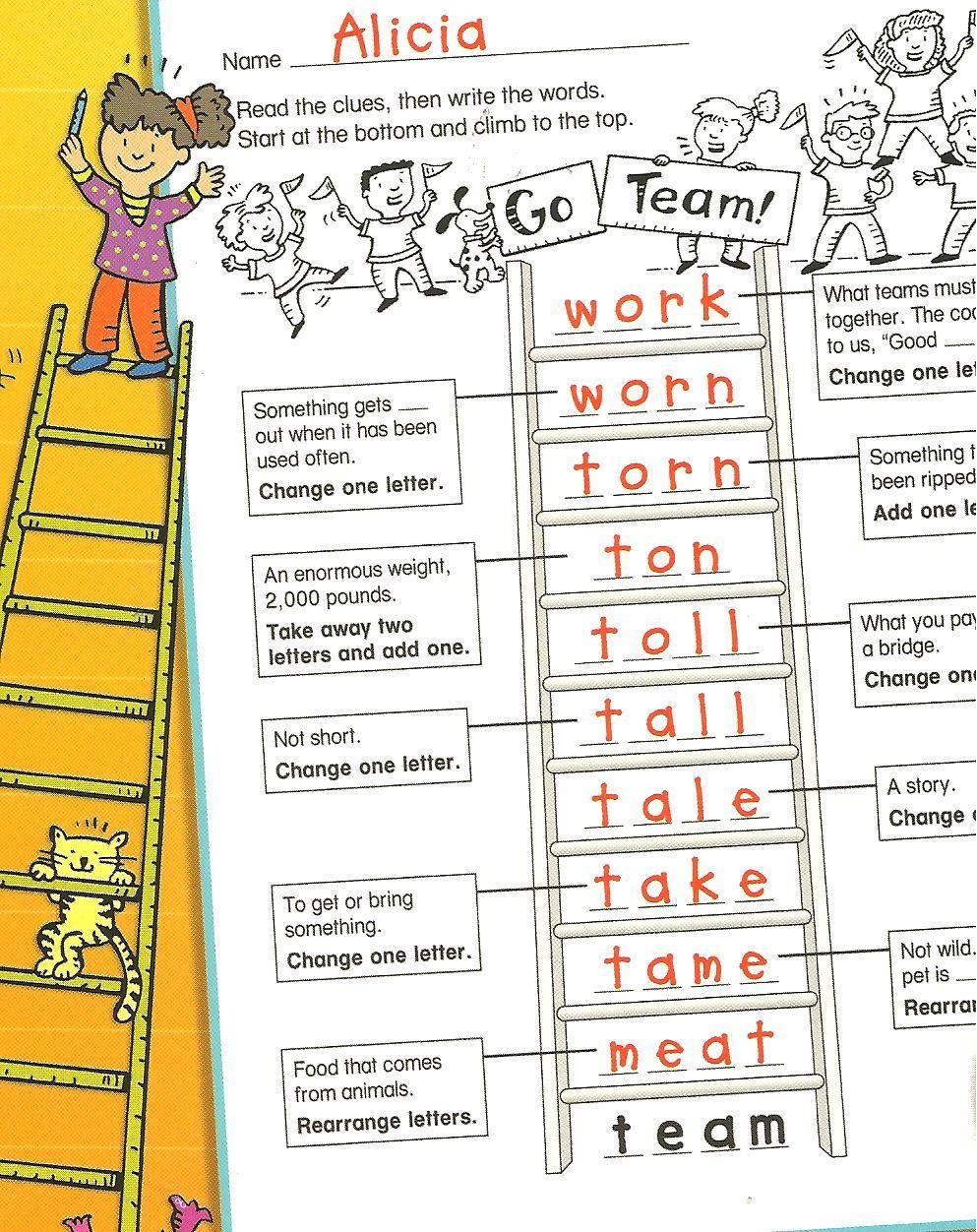 Free Printable Word Ladders Multisensory Monday Word Ladders