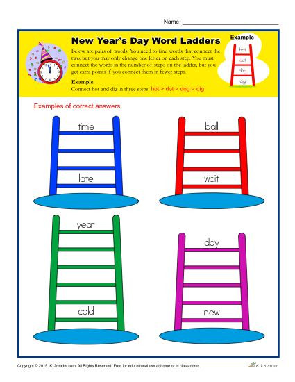 Free Printable Word Ladders New Year S Day Word Ladders