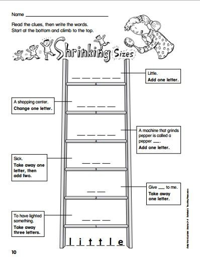 Free Printable Word Ladders Printable Word Ladders for Elementary Students Great for